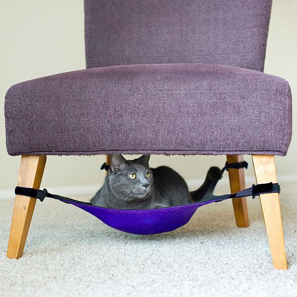 hamaca para gatos para montarla debajo de la silla
